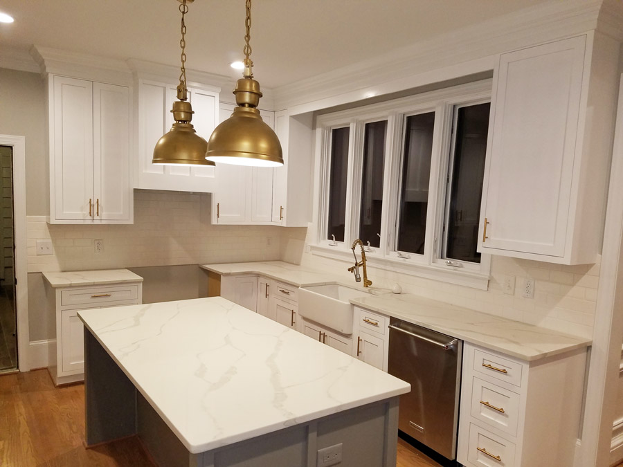 edgewood custom cabinetry-white shaker kitchen with gray island-Smithfield nc